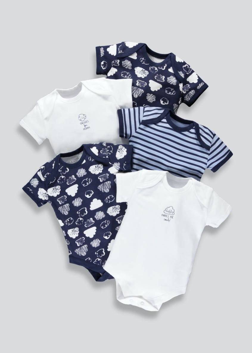 Unisex 5 Pack Bodysuits (Tiny Baby-23mths)