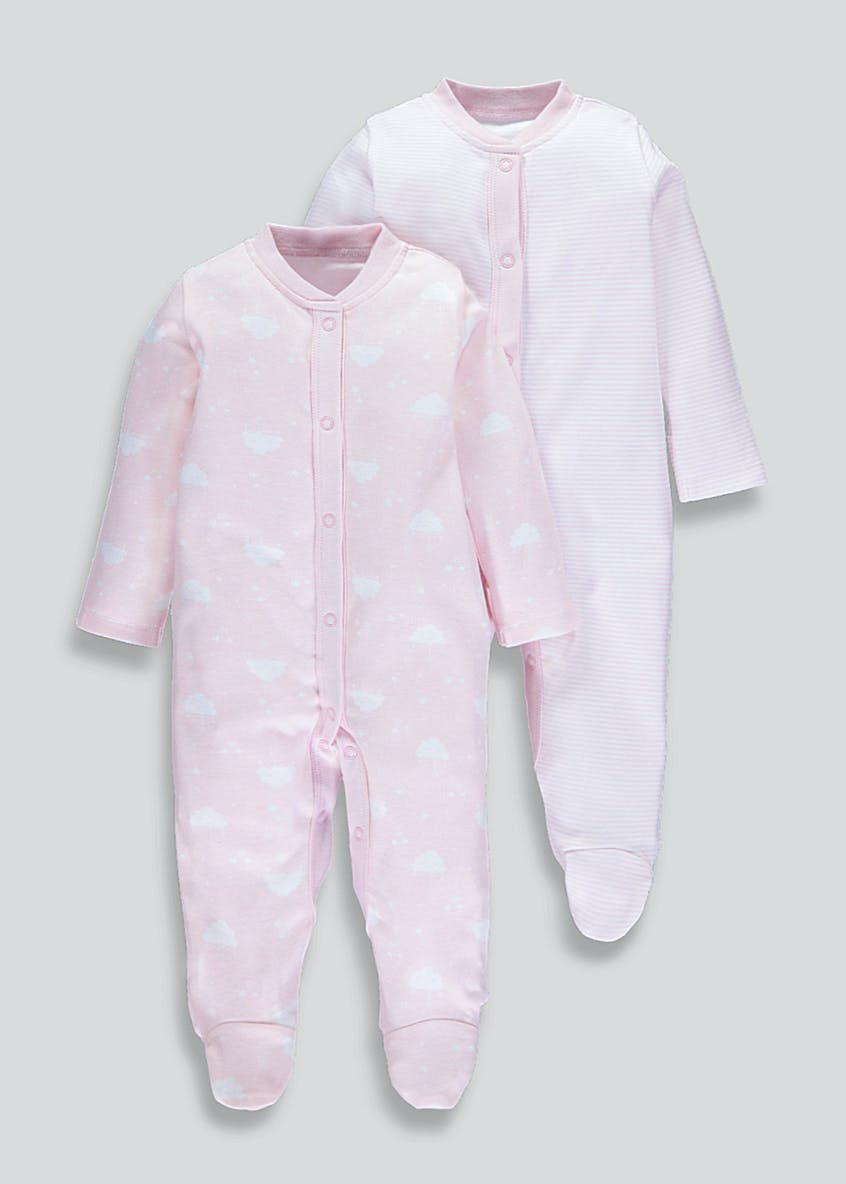 Girls 2 Pack Cloud & Stripe Sleepsuits (Tiny Baby-18mths)
