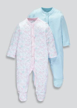 Girls 2 Pack Floral & Polka Dot Sleepsuits (Tiny Baby-18mths)