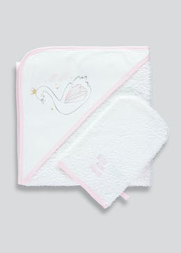 Unisex Swan Hooded Towel & Wash Mitt (One Size)