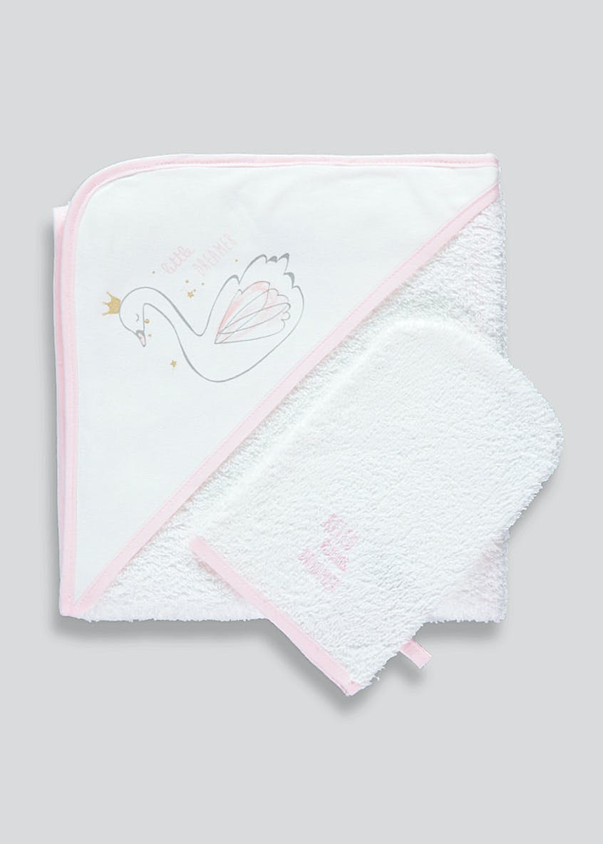 Swan Hooded Baby Towel & Wash Mitt (One Size)