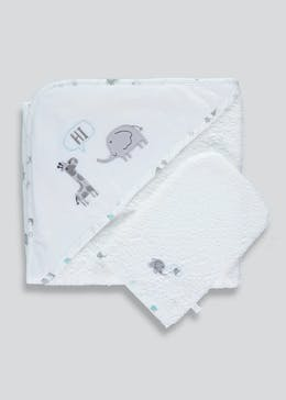 Unisex Elephant Hooded Towel & Wash Mitt (One Size)
