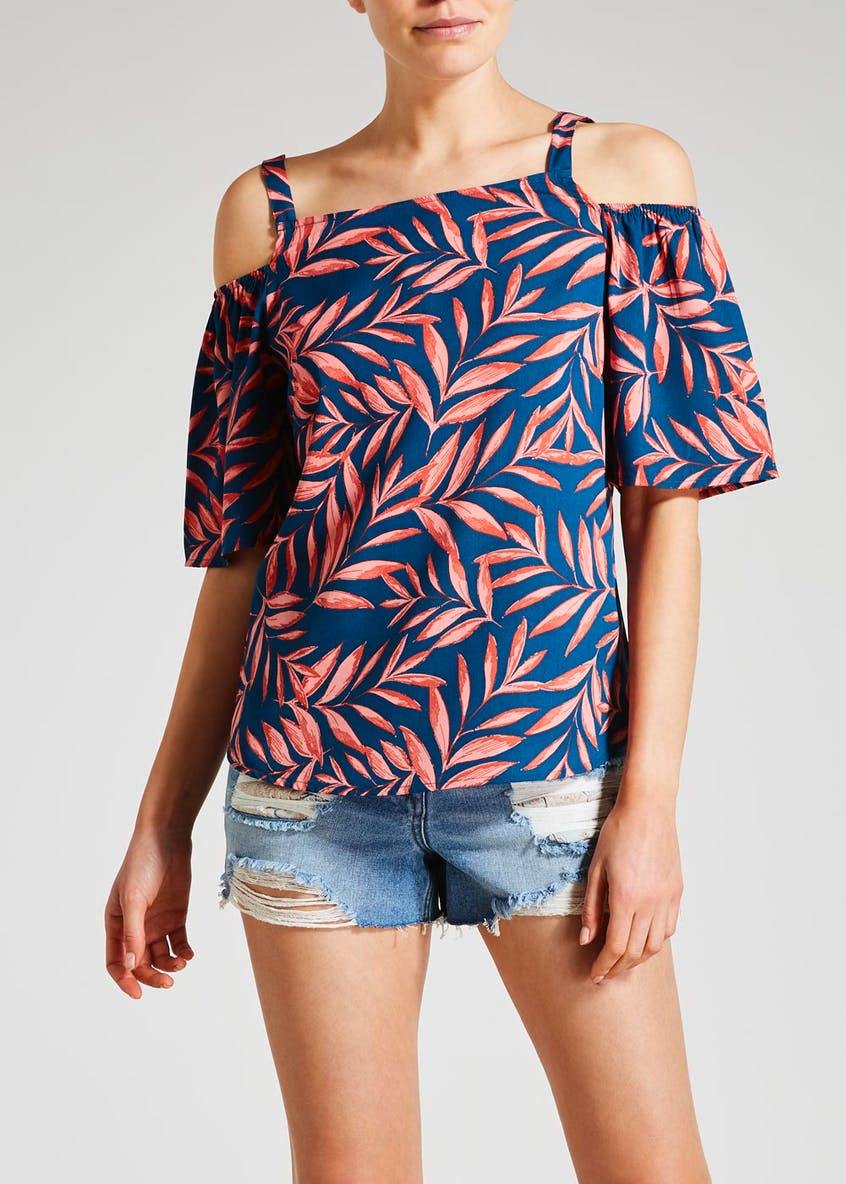 Palm Print Cold Shoulder Blouse