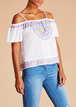 Falmer Mirror Aztec Embroidered Cold Shoulder Top