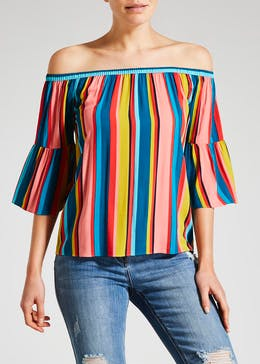 Stripe Viscose Bardot Top
