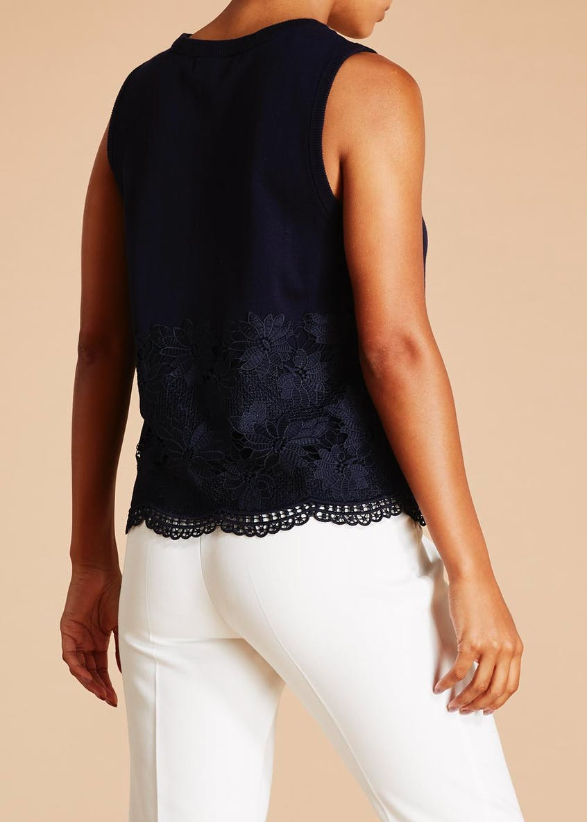 FWM Lace Hem Knitted Sleeveless Top