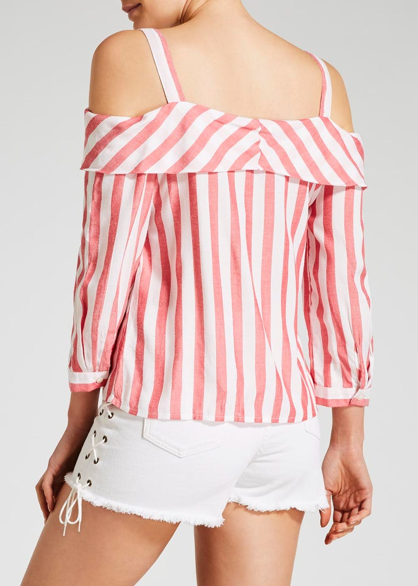 Stripe Cold Shoulder Tie Front Blouse