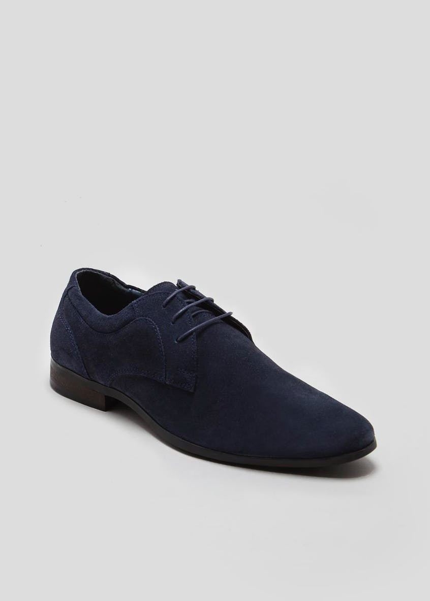Real Suede Pointed Lace Up Formal Shoes