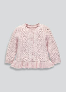 Girls Fluted Hem Cable Knit Cardigan (Newborn-18mths)