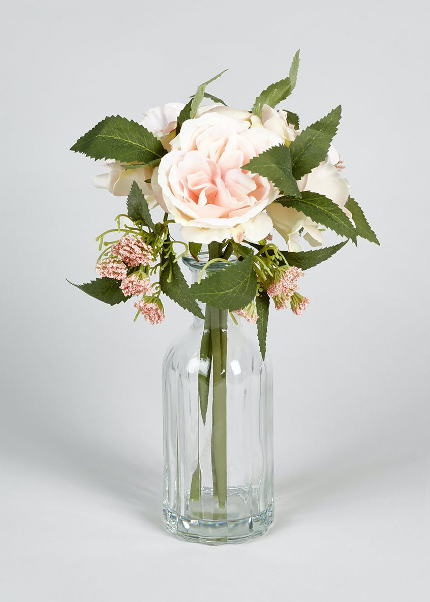 Floral Arrangement in Ribbed Bottle Vase (30cm x 8cm)
