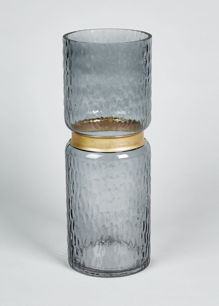 Brass Trim Textured Glass Vase (33cm x 12cm)