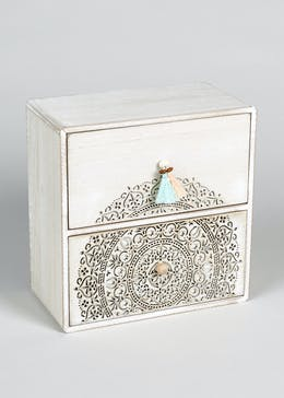Small Patterned Wooden Drawers (21cm x 21cm x 11cm)
