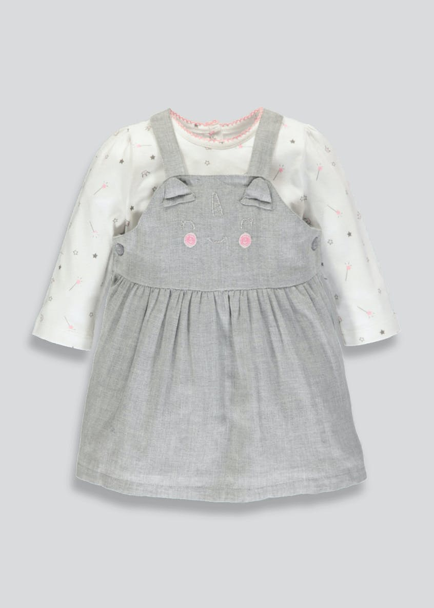Girls Unicorn Pinafore & Top Set (Newborn-18mths)