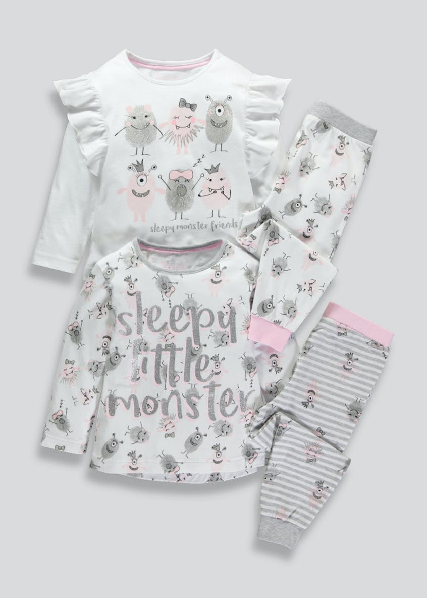 Girls 2 Pack Monster Pyjamas (9mths-5yrs)