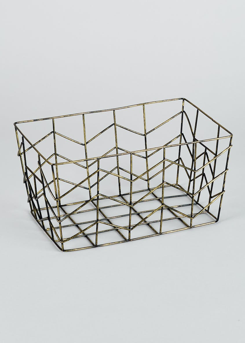 Bronze Metal Storage Basket (27cm x 17cm x 14cm)