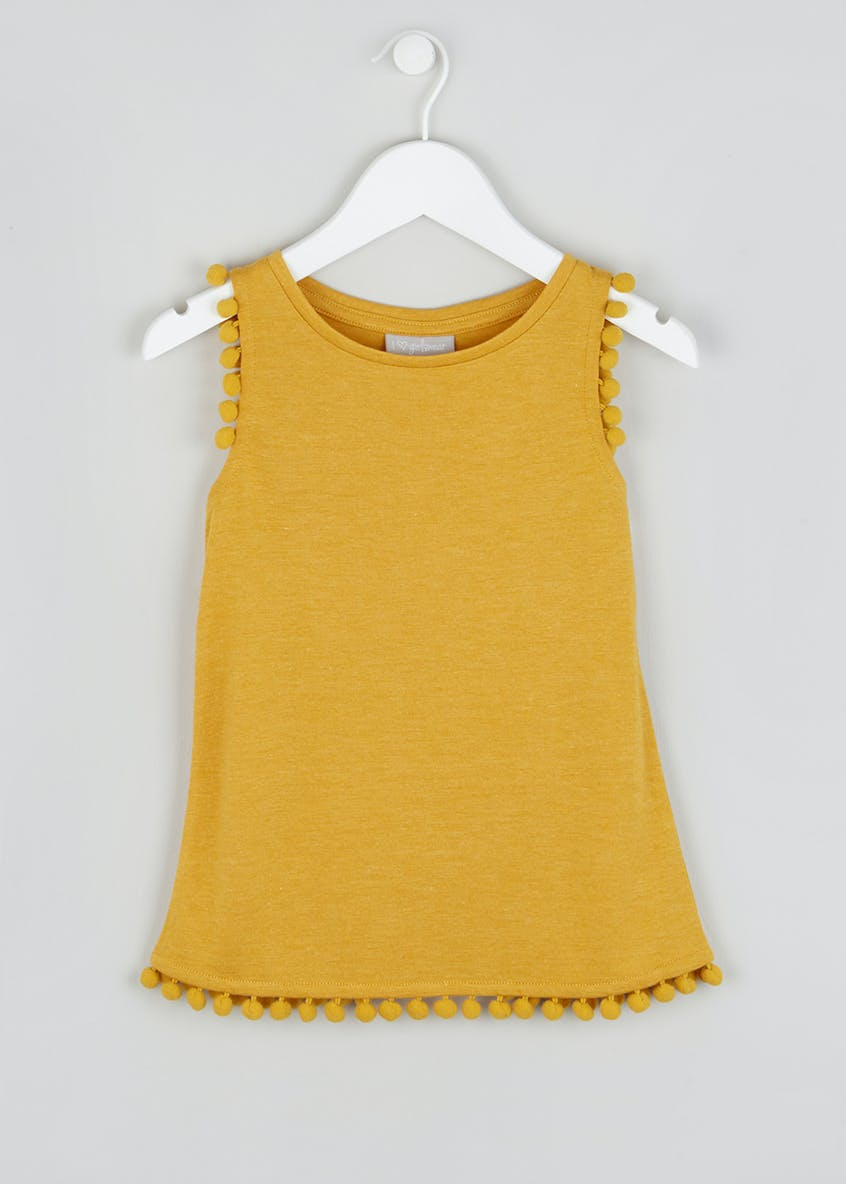 Girls Pom Pom Trim Vest (4-13yrs)