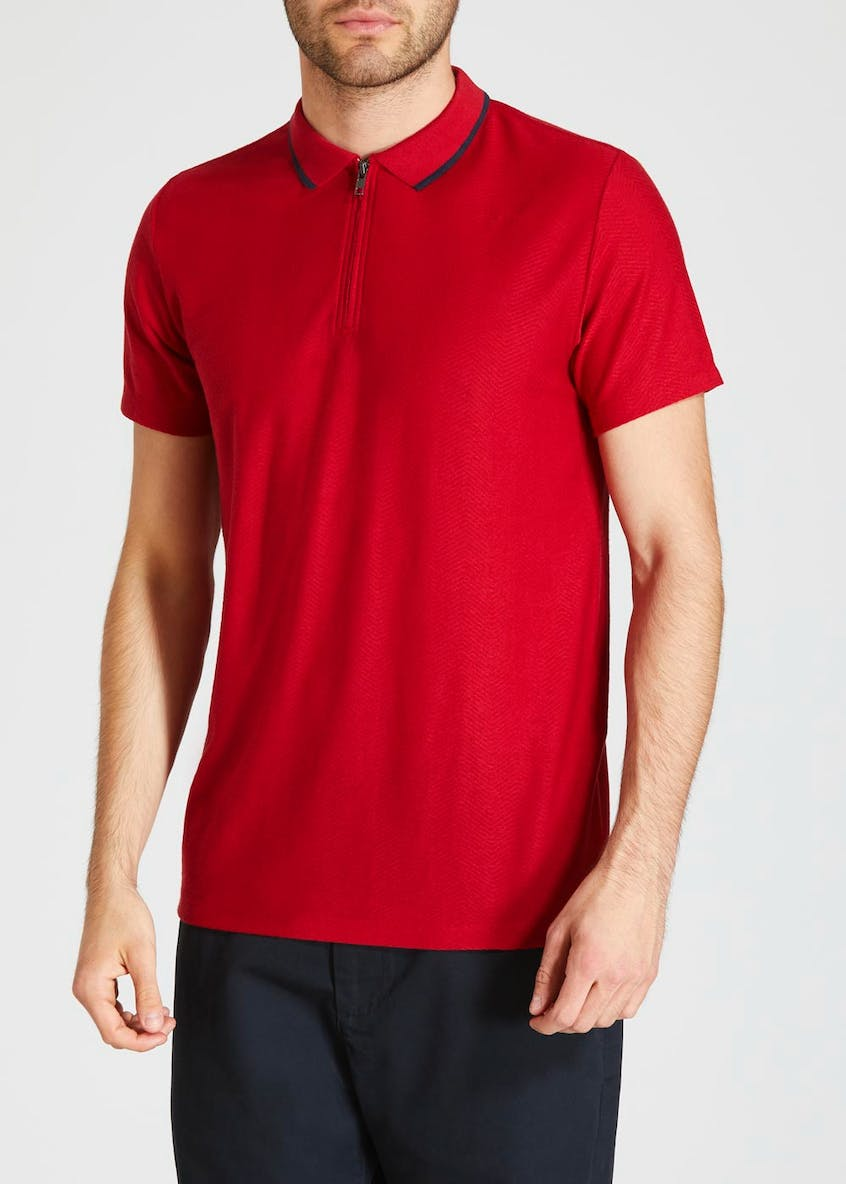 Textured Jacquard Zip Polo Shirt