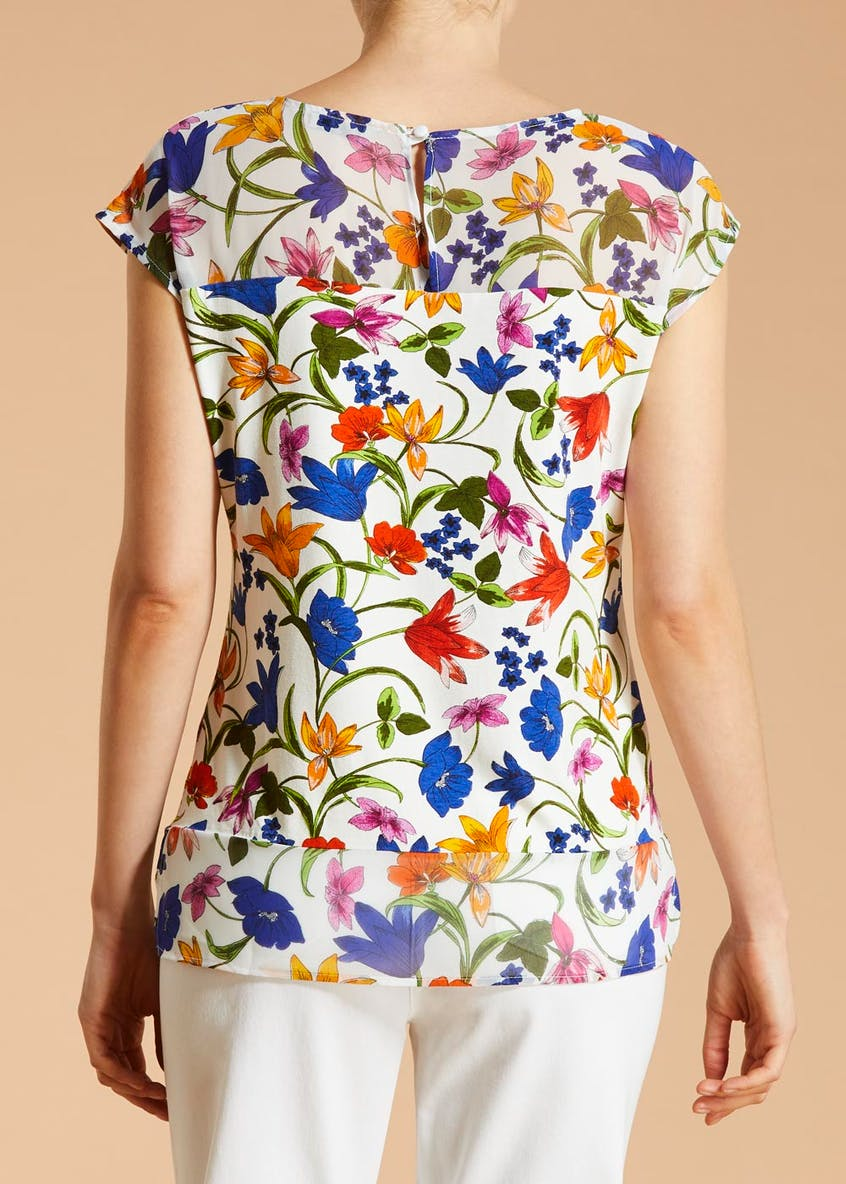 Soon St Lucia Floral Chiffon Panel Top