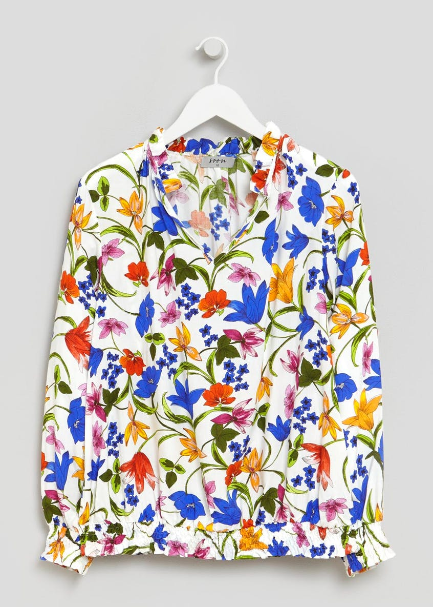 Soon St Lucia Floral Shirred Hem Blouse