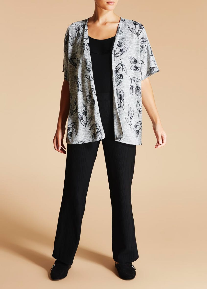 Floral Open Snit Cardigan