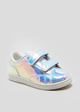 Girls Unicorn Mermaid Iridescent Riptape Strap Trainers (Younger 4-12)