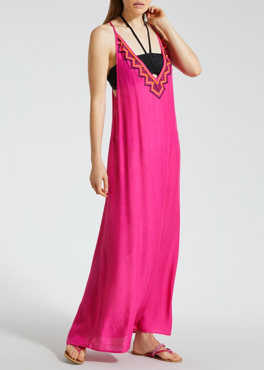 Embroidered Maxi Dress - Pink