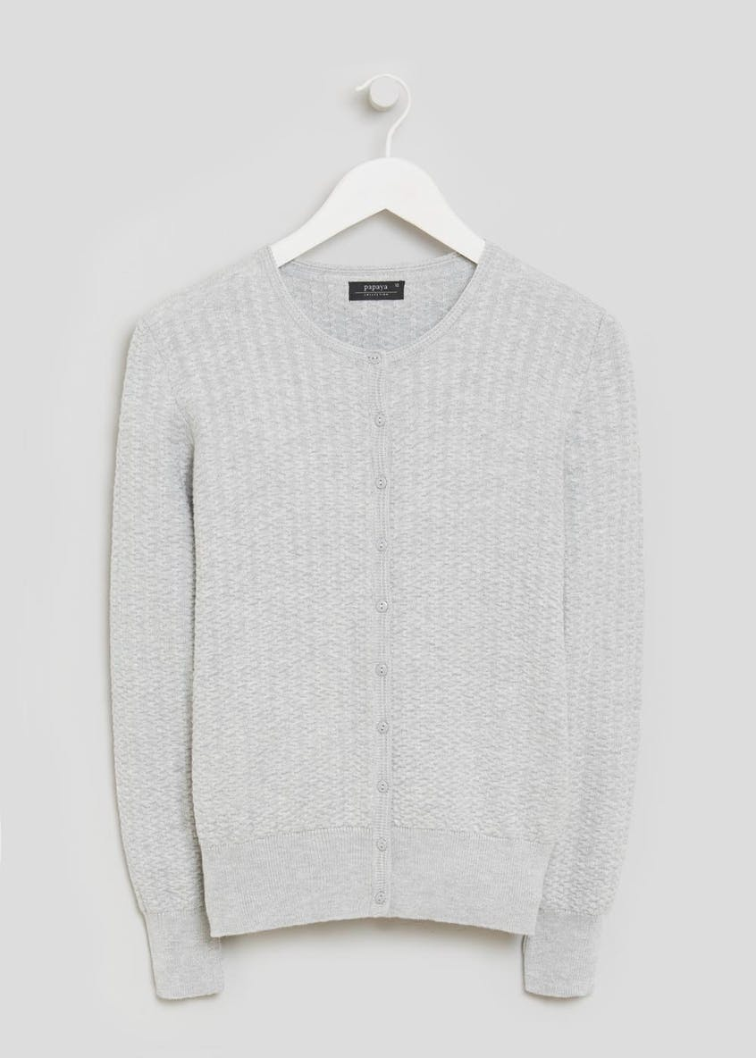 Textured Crew Neck Cardigan