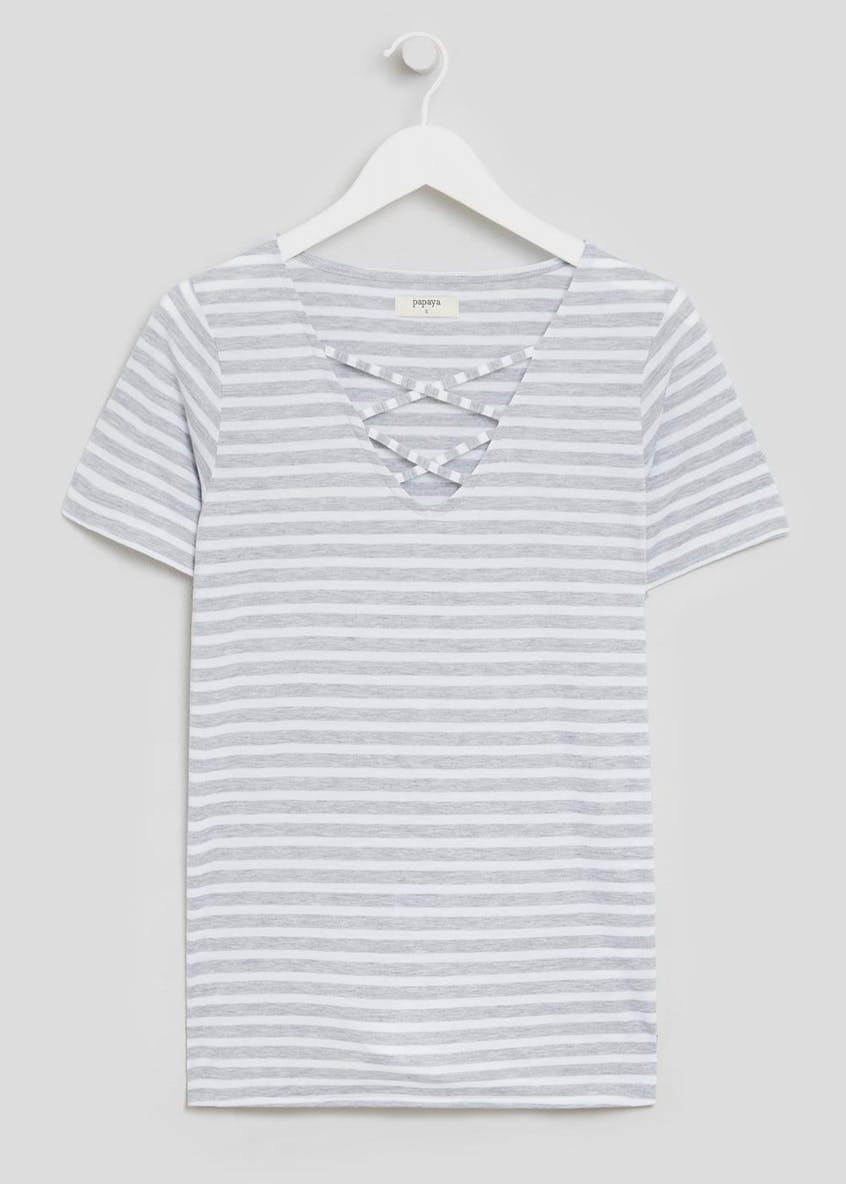 Striped Lattice Front T-Shirt