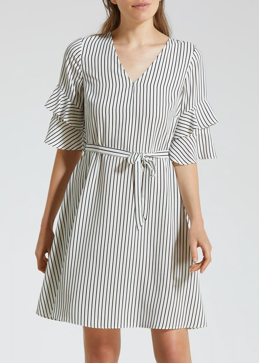 Striped Double Frill Belted Tea Dress