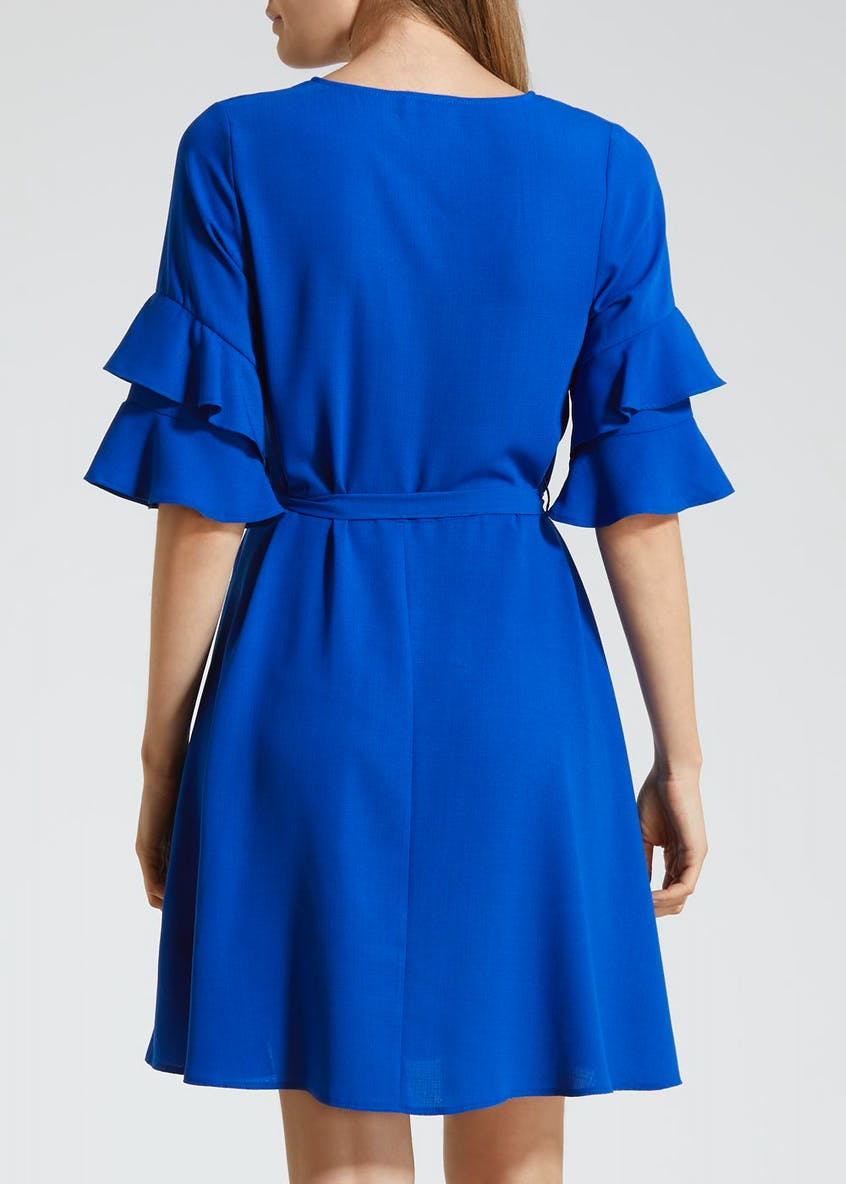 Double Frill Belted Tea Dress - Blue
