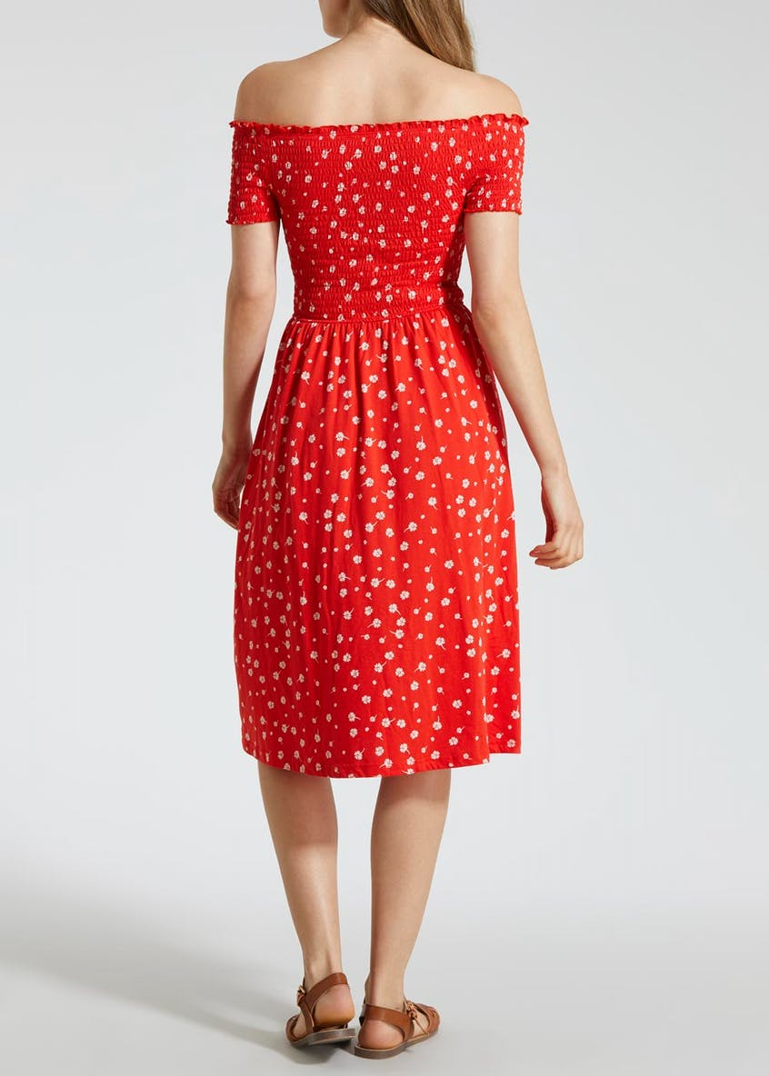 Floral Shirred Bardot Midi Dress - Red