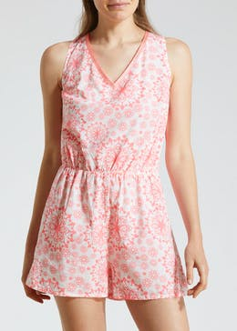 Tile Print Playsuit - Pink