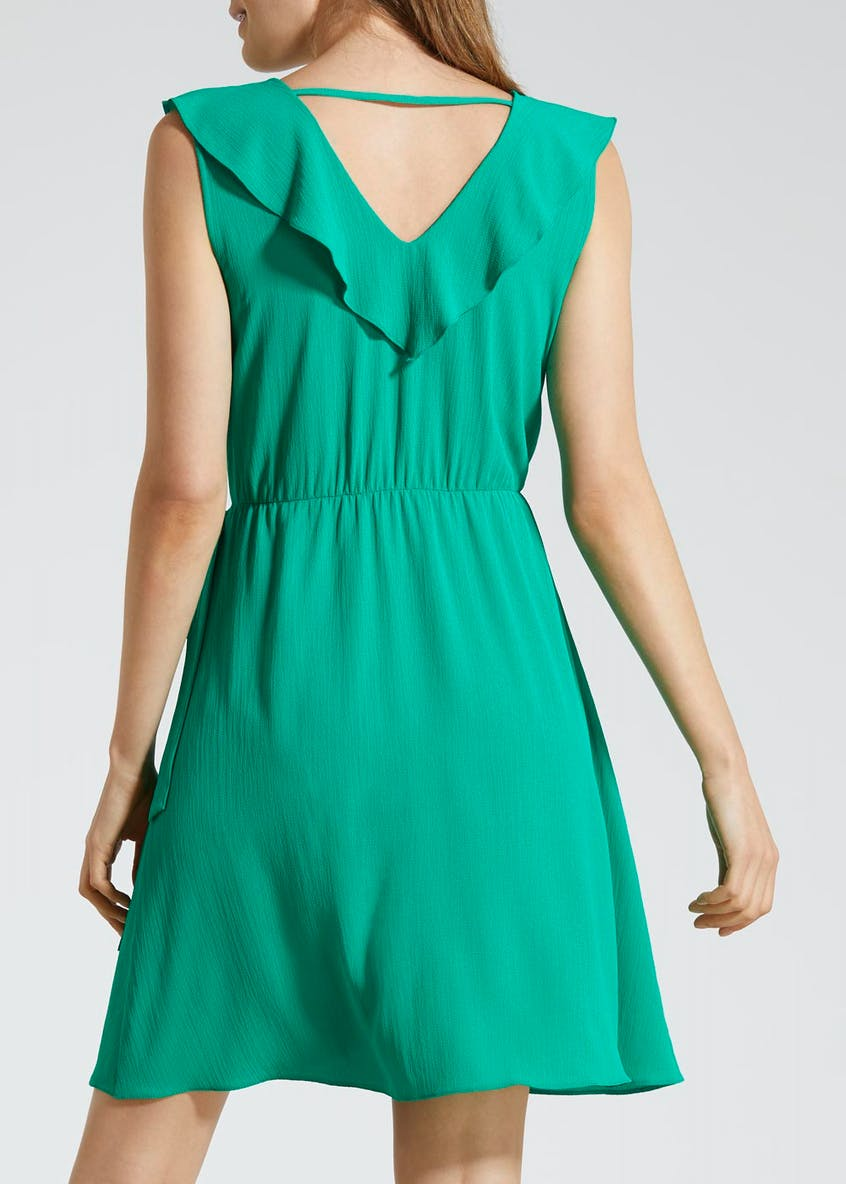 Wrap Ruffle Dress - Green