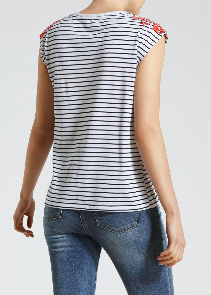 Stripe Embroidered Tie Front Vest Top