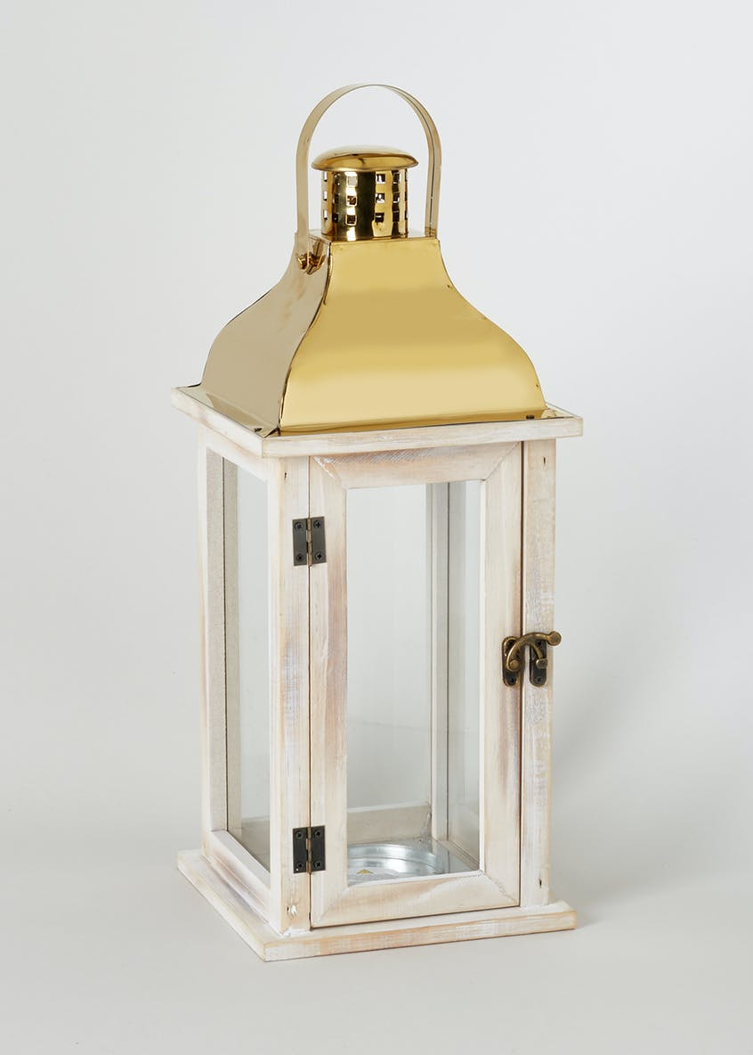 Brass Top Wooden Lantern (42cm x 17cm x 17cm)