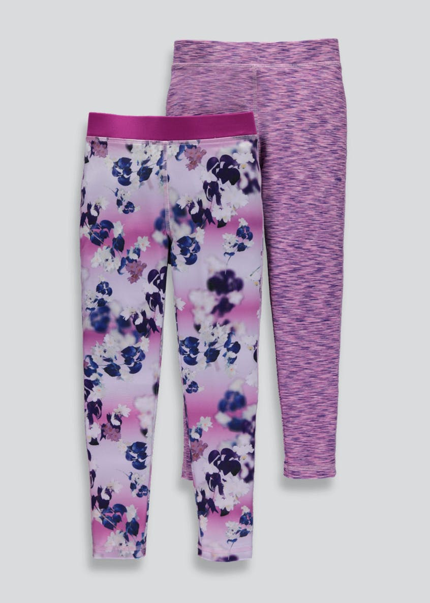 Girls Souluxe 2 Pack Sports Leggings (4-13yrs)