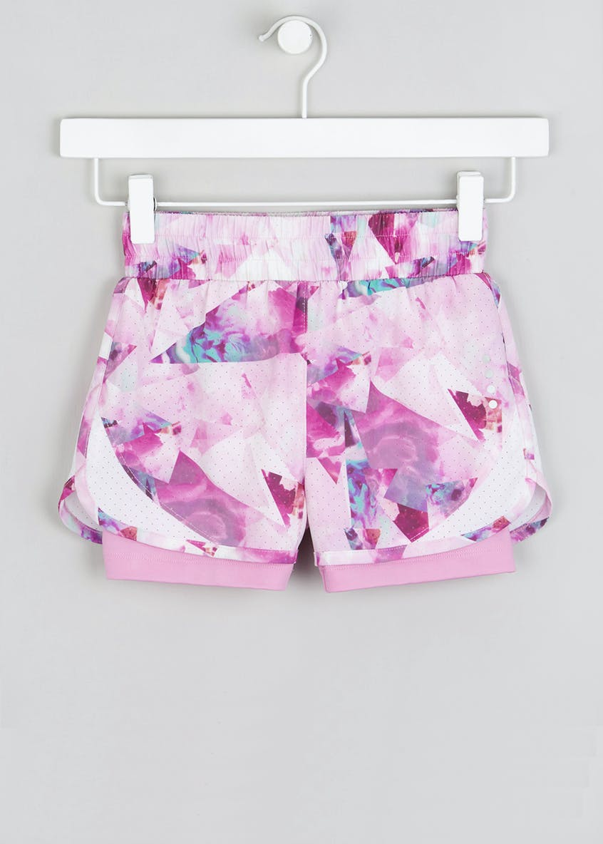 Girls Souluxe Abstract Flower Sports Shorts (4-13yrs)