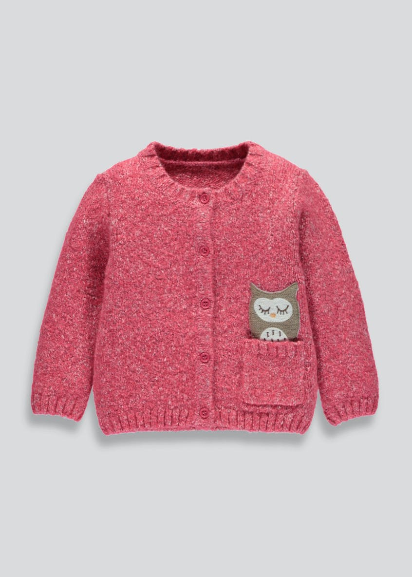 Girls Owl Applique Cardigan (3mths-6yrs)