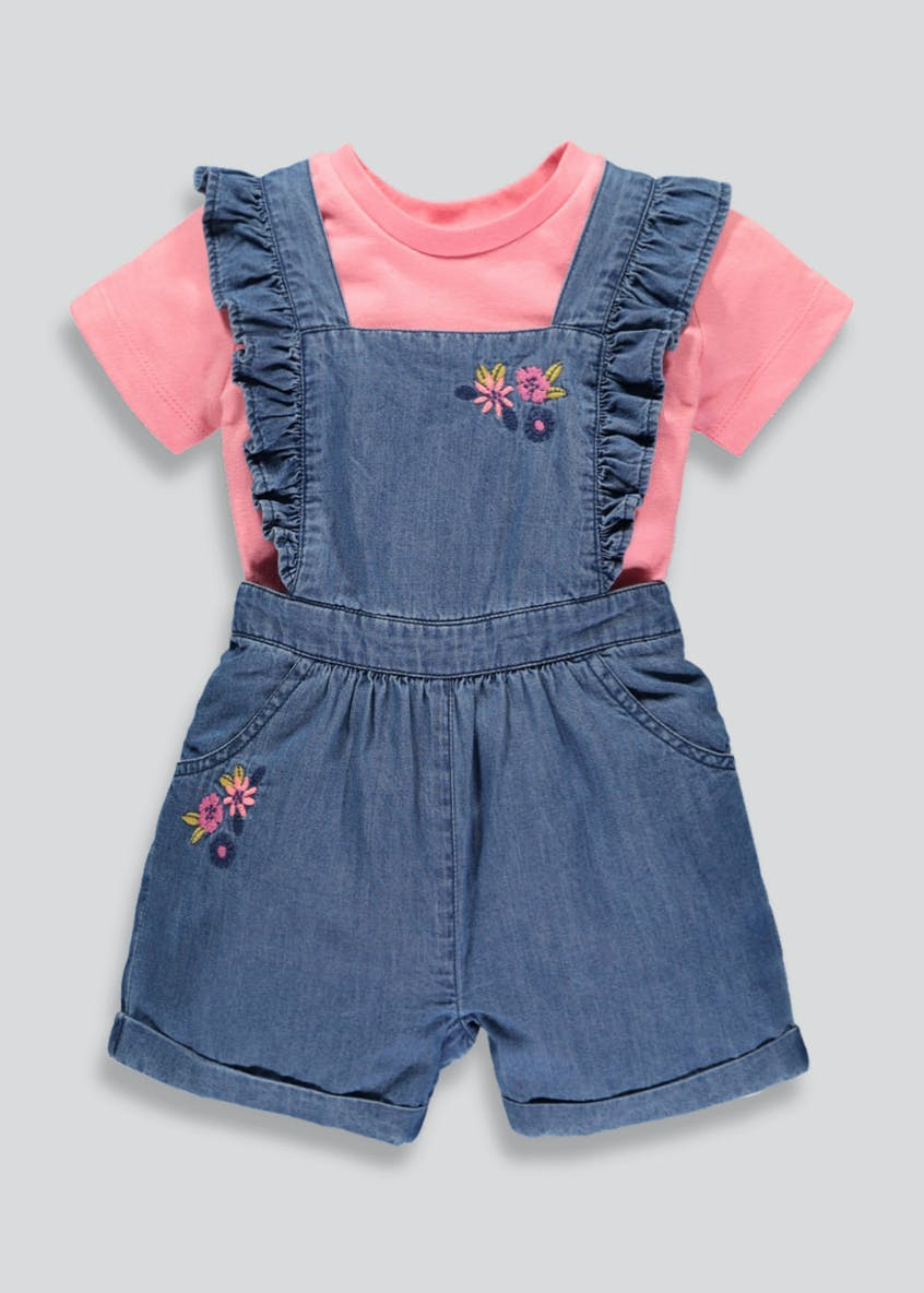 Girls Denim Floral Dungaree Set (3mths-6yrs)
