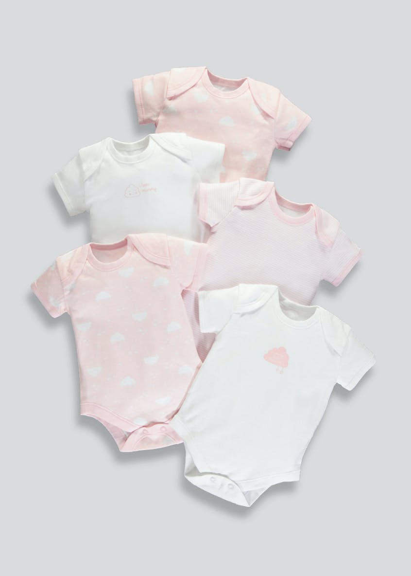 Girls 5 Pack Cloud Print Bodysuits (Tiny Baby-23mths)