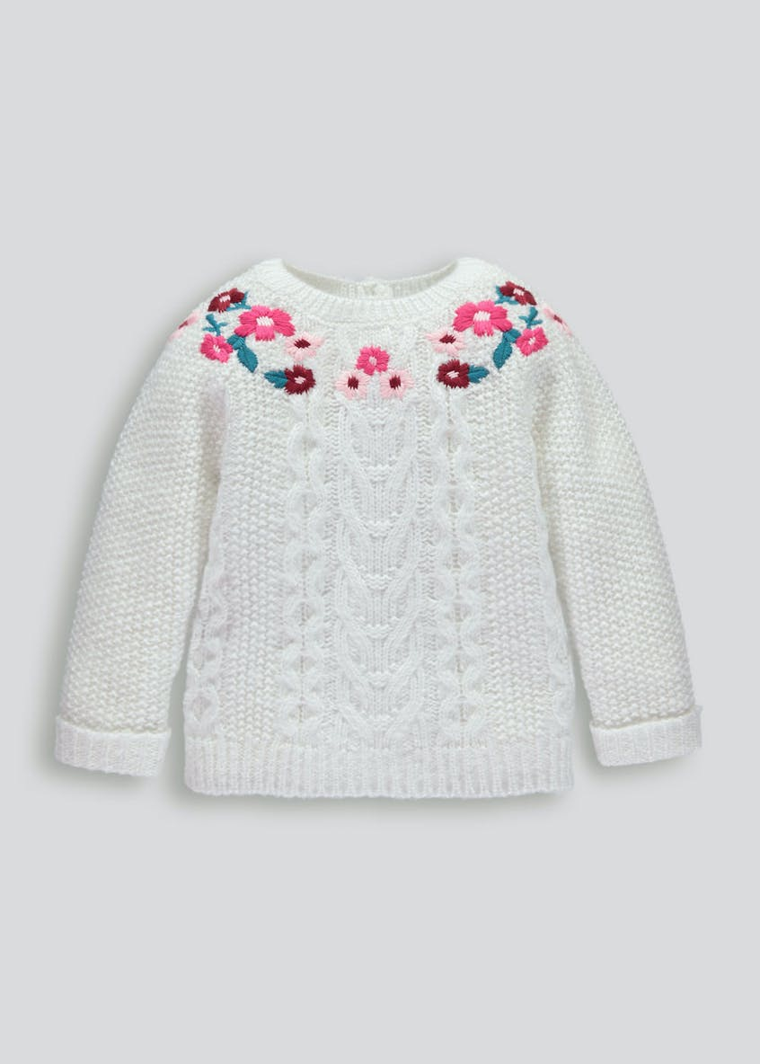 Girls Floral Embroidered Cable Knit Jumper (3mths-6yrs)