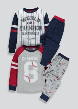 Boys 2 Pack Baseball Pyjamas (4-13yrs)