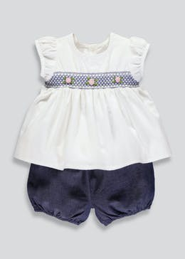 Girls Embroidered Blouse & Bloomer Shorts Set (Tiny Baby-12mths)