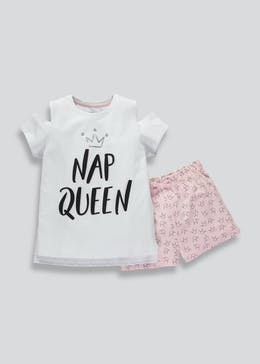Girls Candy Couture Nap Queen Pyjama Short Set (9-16yrs)