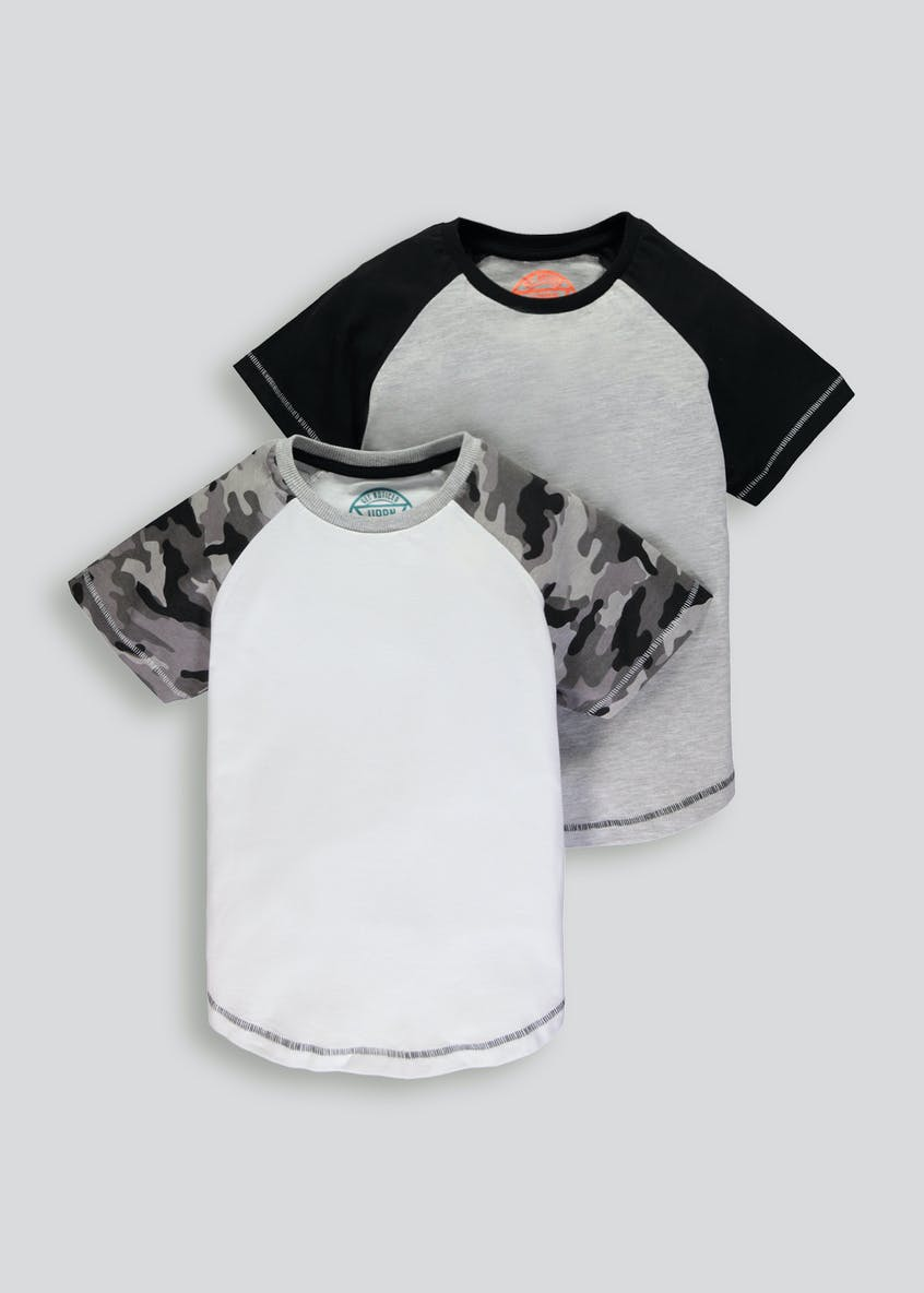 Boys 2 Pack Camo Raglan T-Shirts (4-13yrs)