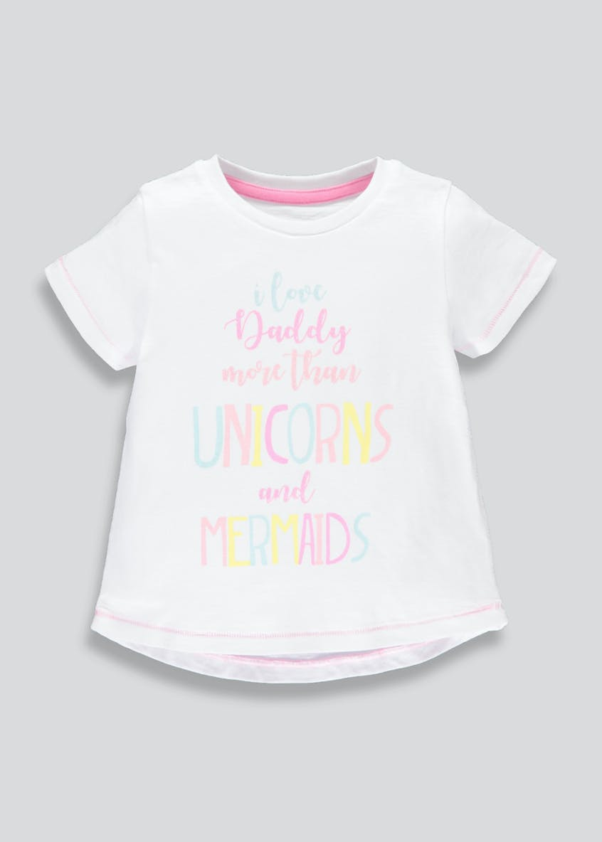 Girls Daddy Unicorn Mermaid Slogan T-Shirt (3mths-6yrs)