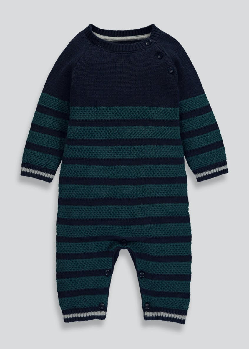 Unisex Stripe Knitted Romper (Tiny Baby-18mths)