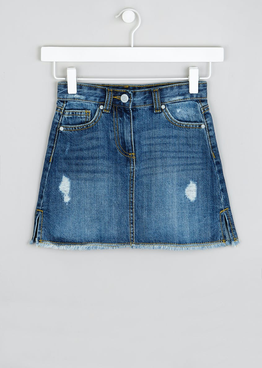 Girls Distressed Denim Skirt (4-13yrs)