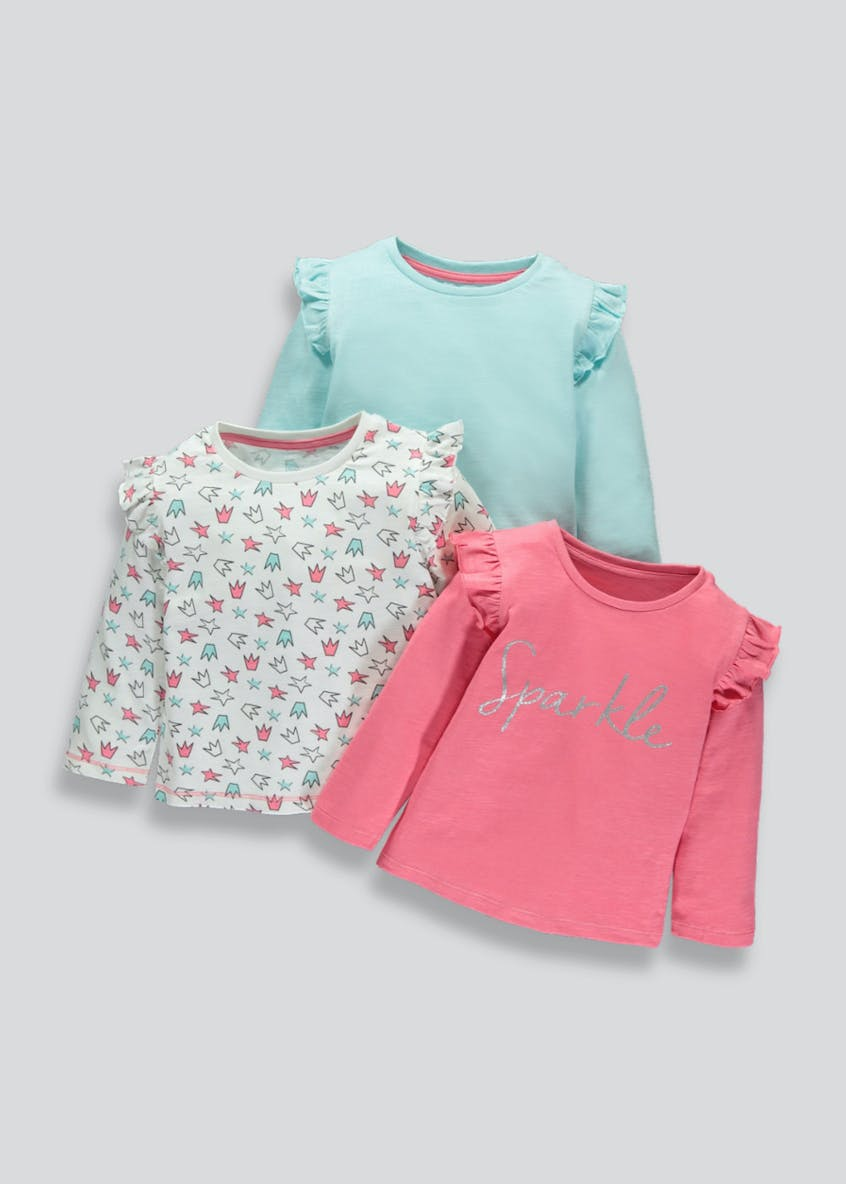 Girls 3 Pack Frill Shoulder Tops (3mths-6yrs)
