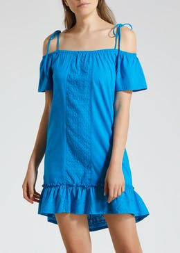 Schiffley Panel Tie Shoulder Dress - Blue